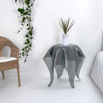 Nowoczesny stolik boczny w wędzonym pleksi Otto, wykonany we Włoszech