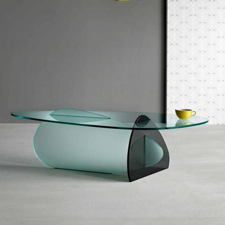 Designerski stolik kawowy w przezroczystym, wędzonym i trawionym szkle Made in Italy - Tac Tac