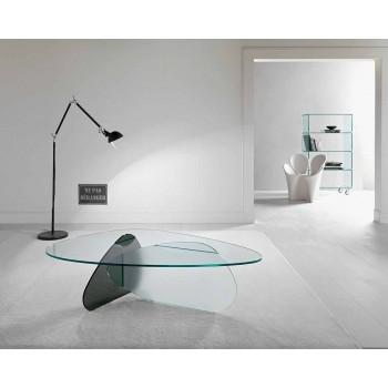 Designerski stolik kawowy z przezroczystego, wędzonego i trawionego szkła Made in Italy - Tac Tac