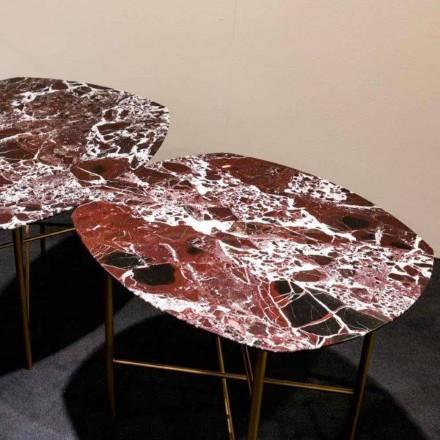 Stół designerski z czerwonego marmuru i metalu Levanto, wyprodukowany we Włoszech - Morbello