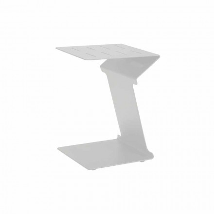 Stolik pomocniczy do sofy zewnętrznej w kolorze białym lub antracytowym aluminium - Deniz