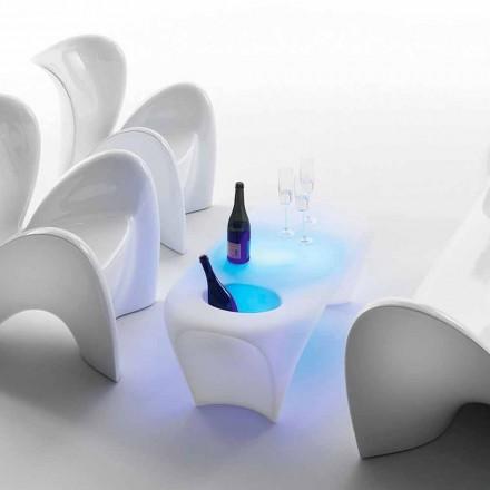Jasny stolik kawowy z butelką wina musującego, projekt zewnętrzny lub wewnętrzny - Lily od Myyour