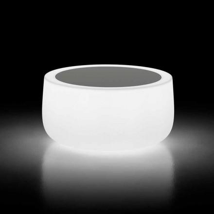 Jasny stolik kawowy na zewnątrz z oświetleniem LED i blatem HPL Made in Italy - Belida