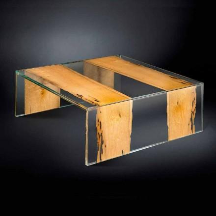 Stolik kawowy kwadratowy wykonany ze szkła i drewna Venezia Vgnewtrend