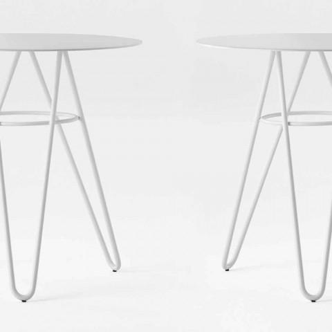 Cenny stolik kawowy na zewnątrz z HPL i białego metalu Made in Italy - Dublin