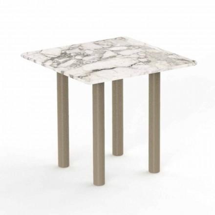 Aluminiowy i kwadratowy stolik kawowy Gres na zewnątrz - Panama by Talenti