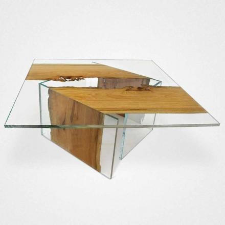 Stolik kawowy kwadratowy z weneckich słupków i szkła Laguna