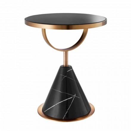 Okrągły stolik kawowy ze stali z miedzianym wykończeniem i nowoczesnym kamieniem - Aprilia
