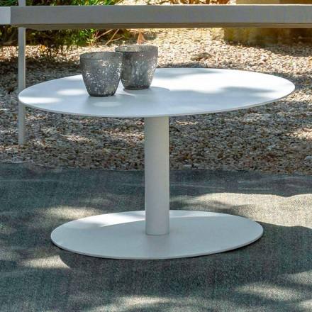 Okrągły stolik ogrodowy z białego aluminium lub węgla drzewnego - Key by Talenti