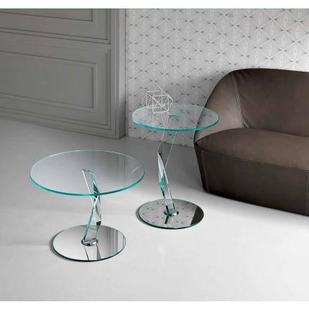 Okrągły stolik kawowy z wyjątkowo przezroczystego szkła wyprodukowanego we Włoszech - Akka