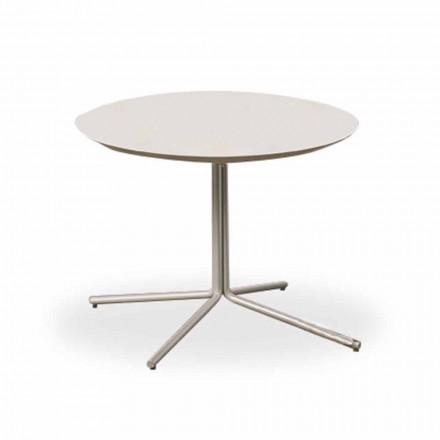 Okrągły stolik kawowy z białej płyty MDF o nowoczesnym designie 2 rozmiary - Geone