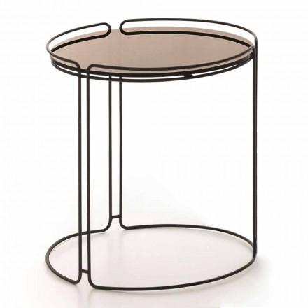 Okrągły metalowy stolik kawowy ze szklanym blatem Made in Italy - George