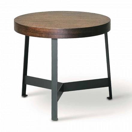 Okrągły stolik kawowy z eukaliptusa Mdf i metalowym wykończeniem Made in Italy - Juliana