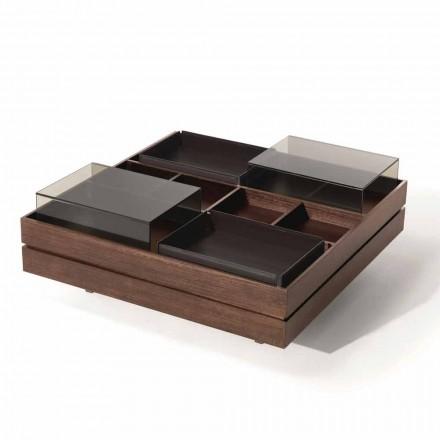 Stolik kawowy z drewna z detalami ze szkła i skóry Made in Italy - Ermano