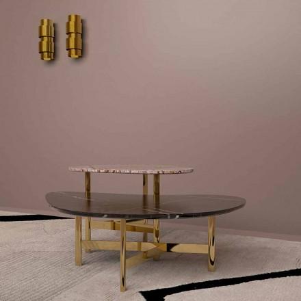 Luksusowy stolik kawowy z czarnego marmuru lub lasu brązowego Made in Italy - Manolo