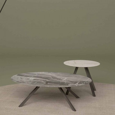 Stół do salonu z marmuru Orobico lub Calacatta i metalu Made in Italy - Sirena