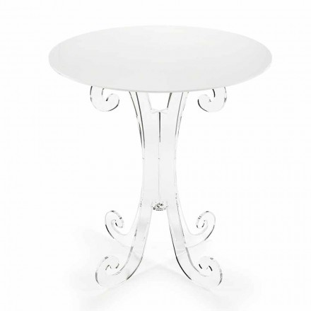 Okrągły stolik kawowy z przezroczystej i białej pleksi lub z drewnem - Stilio