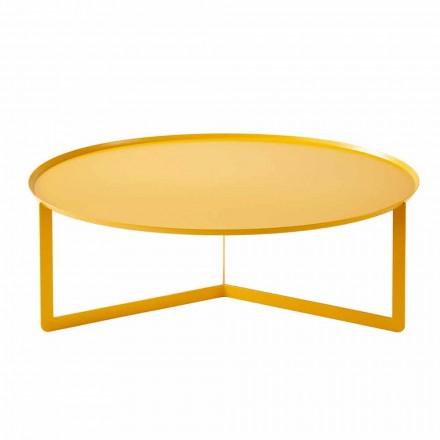 Nowoczesny okrągły stolik kawowy na zewnątrz z metalu Made in Italy - Stephane
