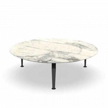 Okrągły stolik ogrodowy z kamionki i aluminium Calacatta - rejs Alu Talenti