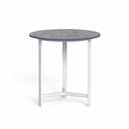 Okrągły stolik kawowy na zewnątrz z blatem gresowym, wysoka jakość - Riviera by Talenti