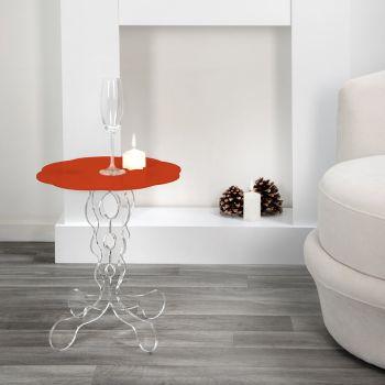 Czerwony okrągły stół o średnicy 36 cm, nowoczesny design Janis, wyprodukowany we Włoszech