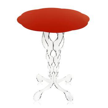 Czerwony okrągły stół o średnicy 50 cm, nowoczesny design Janis, wyprodukowany we Włoszech