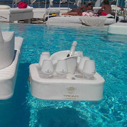 Stolik - pływająca taca z ekoskóry nautycznej i pleksiglas Trona