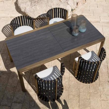 Stół rozkładany 340 cm Jadalnia na zewnątrz z aluminium i szkła lub Laminam - Julie