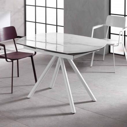 Wysuwany stół z ceramicznym blatem i metalowymi nogami, Lozzolo