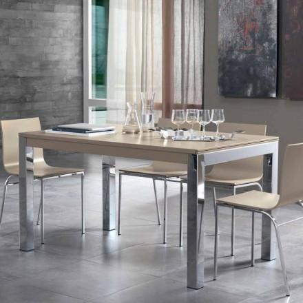 Rozkładany stół z blatem z drewna orzechowego Tanganika i metalowymi nogami - Ketla
