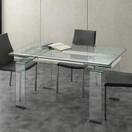 Stół rozkładany Lord blat z szkło hartowaneu