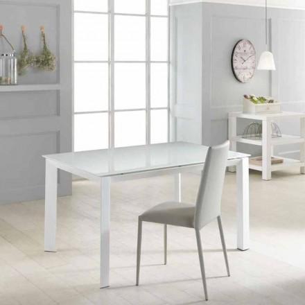 Stół rozkładany z blatem z hatrowanego szkła Vinicio