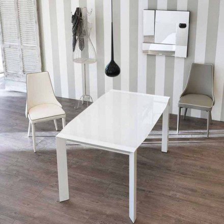 Stół rozkładany design z szklanym blatem Zeno