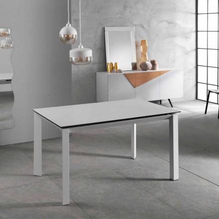Nowoczesny rozkładany stół do 220 cm, biały ceramiczny blat, Nosat