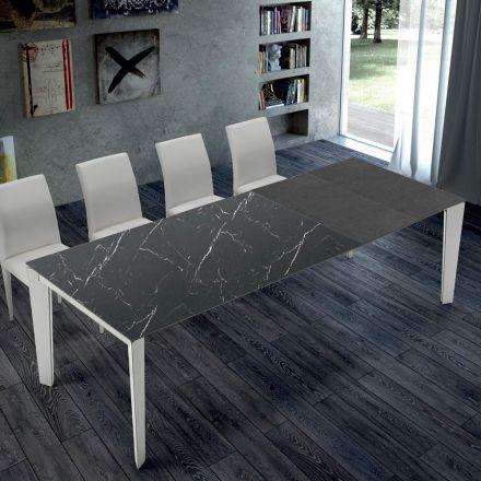 Rozkładany stół kuchenny z marmuru i stali Made in Italy - Settanta