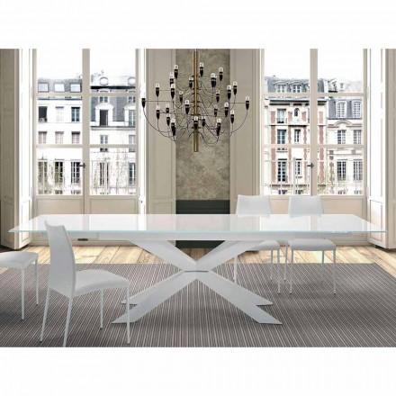 Rozkładany stół do 300 cm ze szkła i stali Made in Italy - Grotta