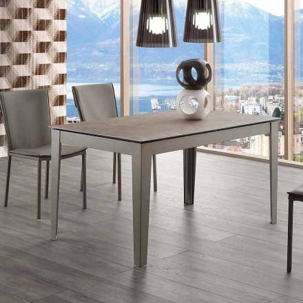 Wysuwany stół szklano-ceramiczny i metalowy Cagliari do 380 cm