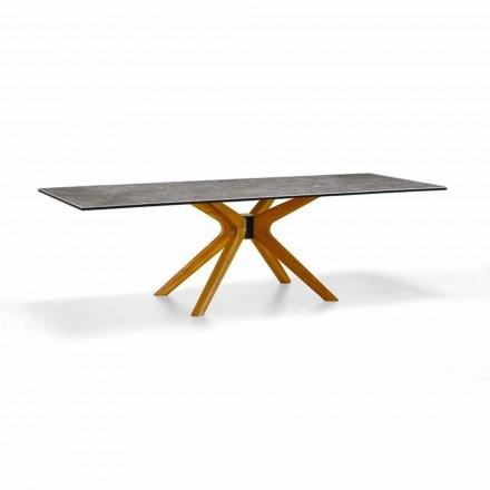 Stół rozkładany do 260 cm z kamionki i drewna, luksusowy Made in Italy - Malita