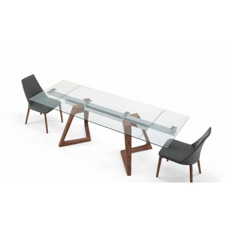 Stół rozkładany szklany i fornirowany do 280 cm - Eugrafo