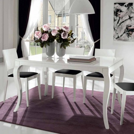 Rozkładany stolik do 350 cm w białym połysku orzechu tanganika - leomy