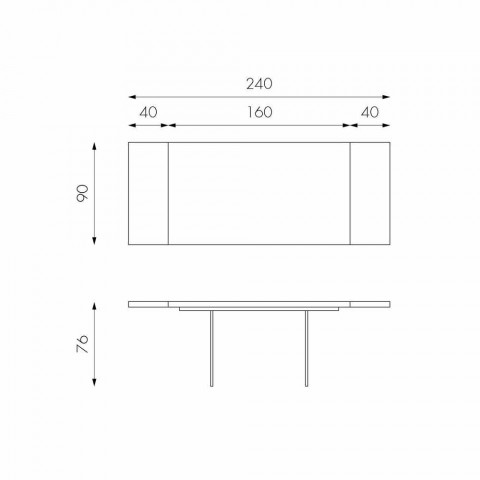 Rozkładany stolik w okleinie dębowej ze szklanymi nogami Nico