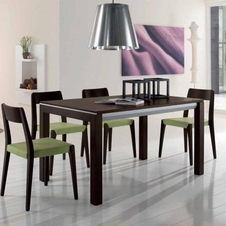 Rozkładany stół z drewna jesionowego z bocznymi paskami pomalowanymi na szaro - Ketla
