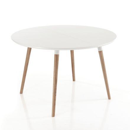 Stół rozkładany drewniany, biały blat matowy Ian