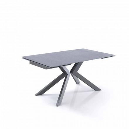 Designowalny rozkładany stół ze szkła i metalu - Piersilvio