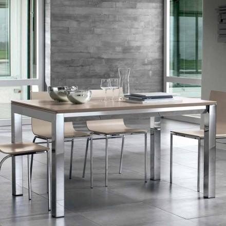 Rozkładany stół z drewna orzechowego Tanganika, bocznych pasków i metalowej podstawy - Ketla