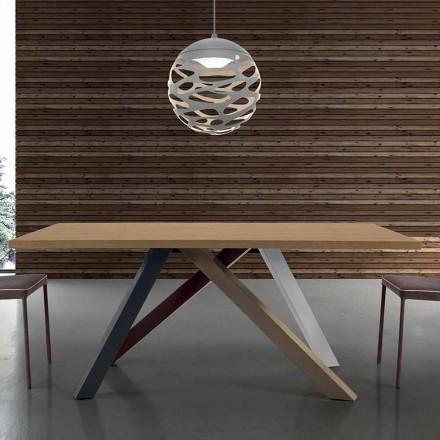 Nowoczesny rozkładany stół z blatem z laminowanego drewna Made in Italy - Settimmio