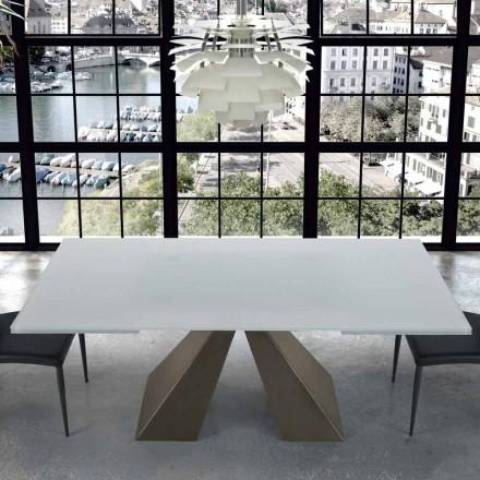 Nowoczesny rozkładany stół ze szkła i stali 14 miejsc Made in Italy - Dalmata
