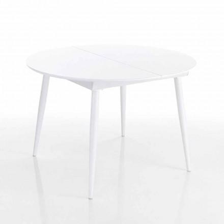 Okrągły rozkładany stół jadalny w białym Mdf - Ismaele