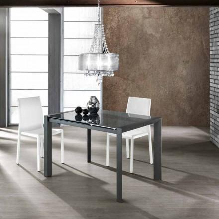 Rozkładany stół ze szkła hartowanego szarego i metalu Zeno
