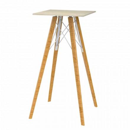 Kwadratowy wysoki stół barowy z drewna i marmuru, 4 sztuki - Faz Wood firmy Vondom